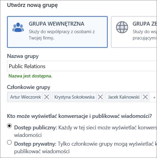 Tworzenie grupy