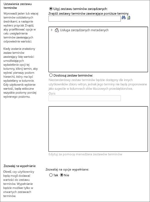 Opcje dla kolumny zarządzanych metadanych