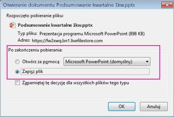 Co program Firefox ma zrobić z tym plikiem?