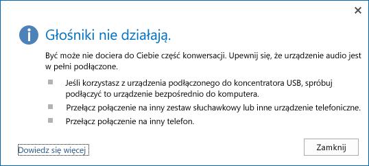 Zrzut ekranu: błąd audio i opcje do sprawdzenia