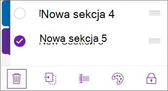 Przycisk usuwania sekcji na pasku menu telefonu iPhone.