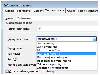Okno dialogowe Informacje o zadaniu, menu Typ ograniczenia