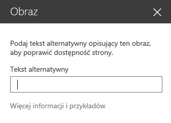 Zrzut ekranu przedstawiający okno dialogowe tekstu alternatywnego obrazu w programie SharePoint.