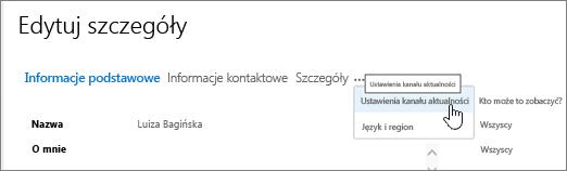 Umieszczenie wskaźnika myszy na Wielokropek na stronie Edytowanie szczegółów Edytuj mój profil myszy