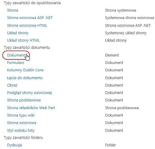 Obszar Typy zawartości dokumentu z wyróżnionym typem