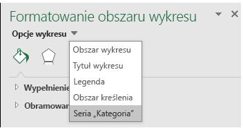 Wybór opcji serii wykresu mapy w programie Excel