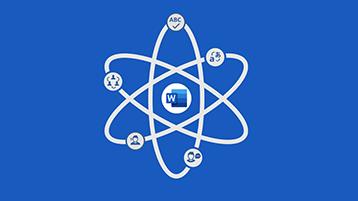 Ekran tytułowy infografiki na temat programu Word — symbol atomu z logo programu Word na środku
