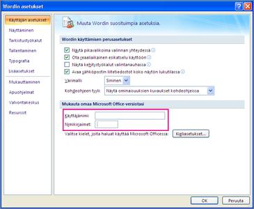 Opcje personalizacji programu Word 2007