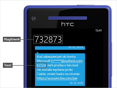 Wiadomosc SMS z kodem.