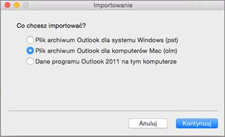 Importowanie pliku archiwum jako pliku OLM.