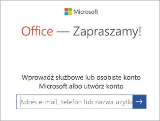 Wprowadzanie adresu e-mail konta Microsoft lub danych konta usługi Office 365