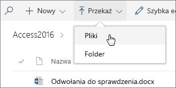 Zrzut ekranu przedstawiający otwarte menu Przekaż w bibliotece dokumentów.