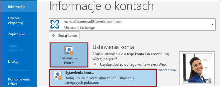 Ustawienia konta w programie Outlook