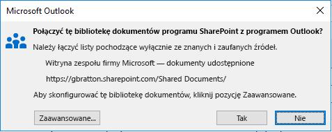 Nawiązywanie połączenia z biblioteką dokumentów programu SharePoint