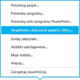 Opcja Współtworzenie w menu Prezentuj z poziomu konwersacji za pomocą wiadomości błyskawicznych