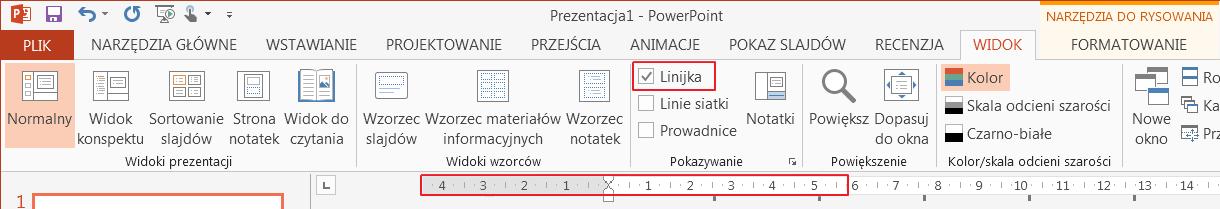 Pole wyboru Linijka na karcie Widok.