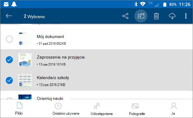 Przenoszenie plików w usłudze OneDrive
