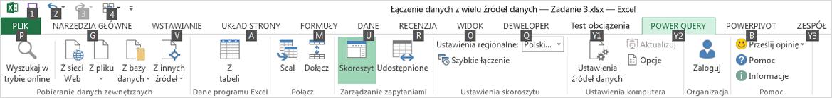 Porady dotyczące klawiszy wstążki Eksplorator danych 2