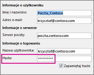 Zmienianie hasła konta POP3 lub IMAP