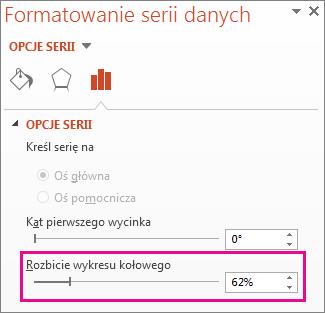 Suwak Rozbicie wykresu kołowego w okienku Formatowanie serii danych