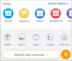 Zrzut ekranu przedstawiający ekran Add Actions in aplikacji kaizala