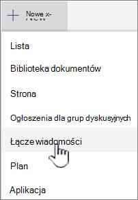 Wybieranie linku wiadomości z menu + Nowy