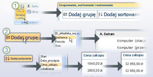 Grupowanie i sortowanie danych w raporcie