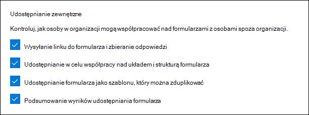 Ustawienie administratora programu Microsoft Forms do udostępniania zewnętrznego