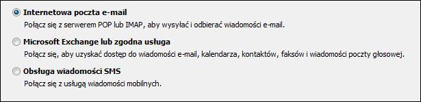 Outlook 2010: wybór usługi dla nowego konta