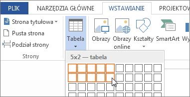 Wstawianie siatki tabeli