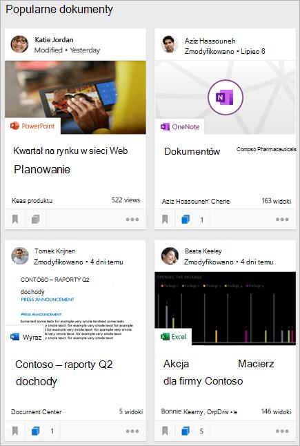 Popularne dokumenty na stronie głównej aplikacji Delve