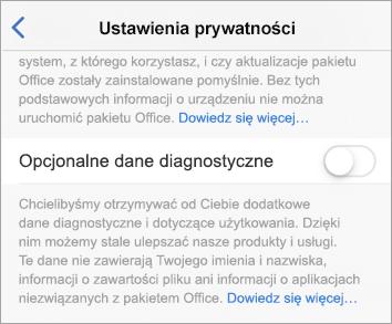 Zrzut ekranu z przełącznikiem opcjonalnych danych diagnostycznych