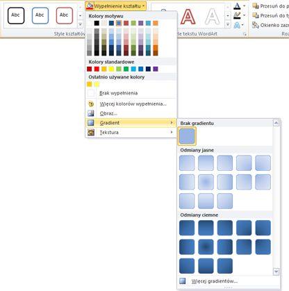 Gradienty dostępne za pośrednictwem menu Wypełnienie kształtu