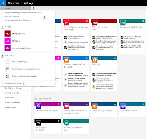Wyszukiwanie usługi Office 365