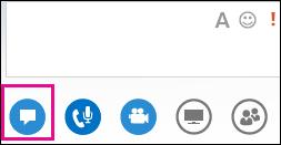 Zrzut ekranu przedstawiający okno wiadomości błyskawicznych na spotkaniu