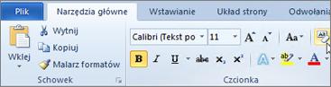 Na karcie Narzędzia główne kliknij przycisk Wyczyść formatowanie.