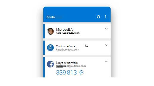 Aplikacja Microsoft Authenticator z wyświetlonymi kilkoma kontami.