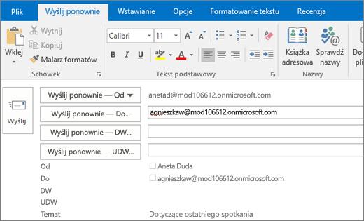 Zrzut ekranu przedstawiający opcję Wyślij ponownie dla wiadomości e-mail. W polu Wyślij ponownie — Do adres adresata został podany przez funkcję Autouzupełnianie.