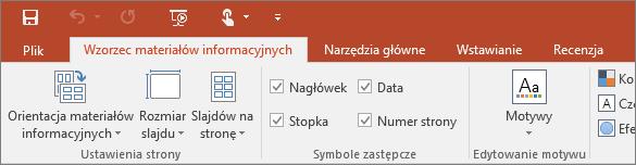 Wstążka Wzorzec materiałów informacyjnych w programie PowerPoint