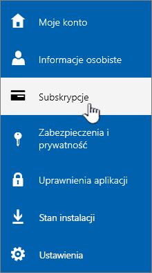 Wyróżnione menu subskrypcji w przedsiębiorstwie