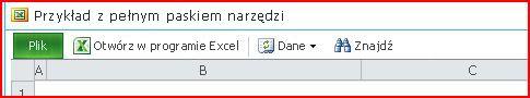 Pasek narzędzi programu Excel Web Access z przyciskami Otwórz, Dane, Znajdź i Pomoc