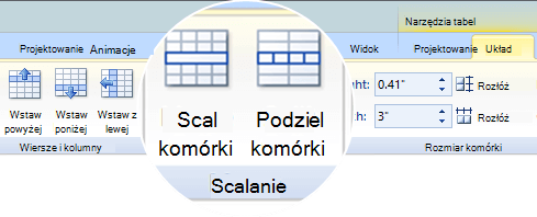 Scalanie lub dzielenie komórek tabeli