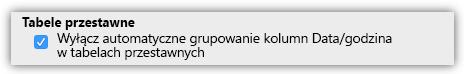 Zrzut ekranu opcji tabel przestawnych, aby wyłączyć automatyczne grupowanie kolumn Data/Godzina.