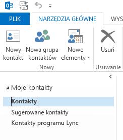 W obszarze Moje kontakty kliknij prawym przyciskiem myszy folder Kontakty.