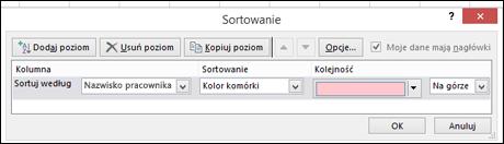 Dane > Sortuj > Opcje sortowania według koloru