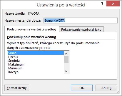 Okno dialogowe Ustawienia pola wartości w programie Excel z opcjami Podsumowanie wartości według