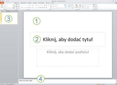 Obszar roboczy (czyli widok normalny) programu PowerPoint 2010 z czterema oznaczonymi obszarami