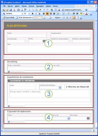 Szablon formularza planu spotkania z czterema sekcjami