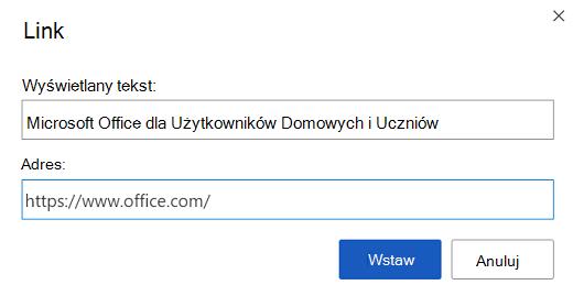 Okno dialogowe wstawiania linku w programie Word dla sieci Web.