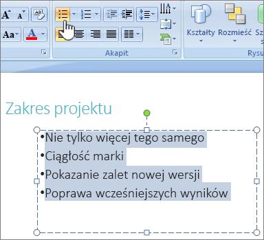 Tekst jest zaznaczony z wyróżnionym przyciskiem punktor